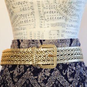 crochet gold belt